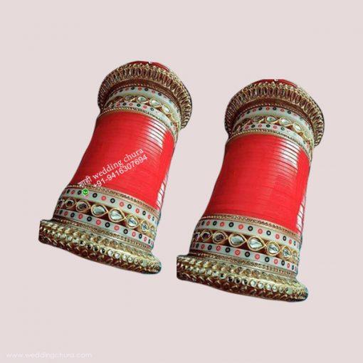 Golden Red Bridal Chura Punjabi Wedding Chura
