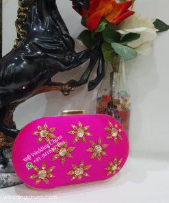 Round Design Pink Clutch