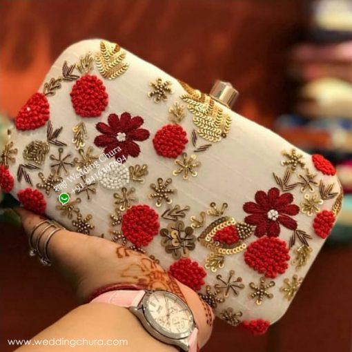 Cream White Flower Design Clutch
